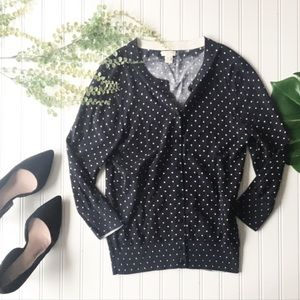 J. Crew Sweaters - J. Crew polka dot cardigan Clare blue white button